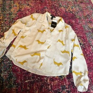 Tops - Forever 21 Dachshund Button-down